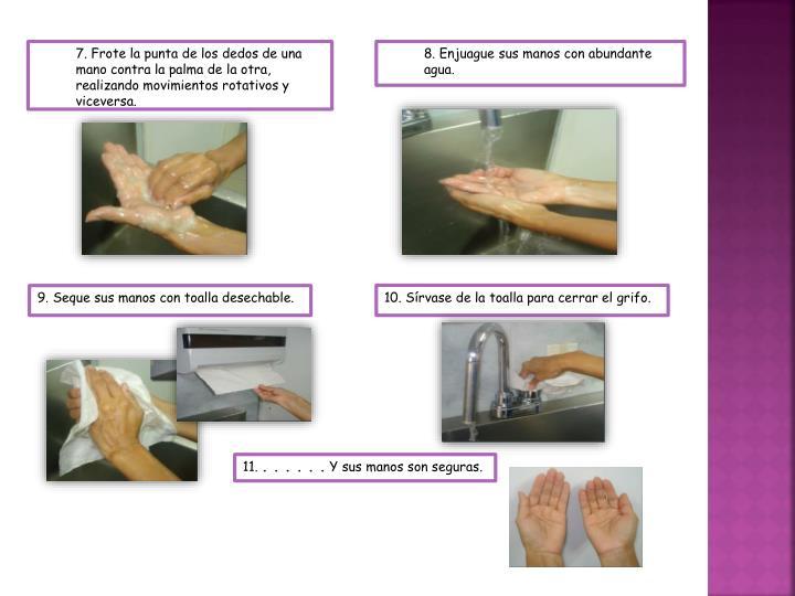 . Frote la punta de los dedos de una mano contra la palma de la otra, realizando movimientos rotativos y viceversa.