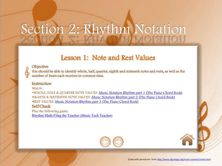 Section 2: Rhythm Notation