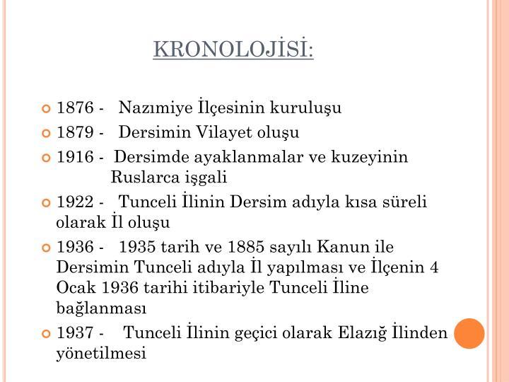 KRONOLOJİSİ: