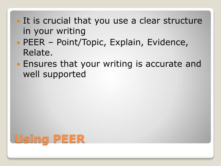 It is crucial that you use a clear structure in your writing