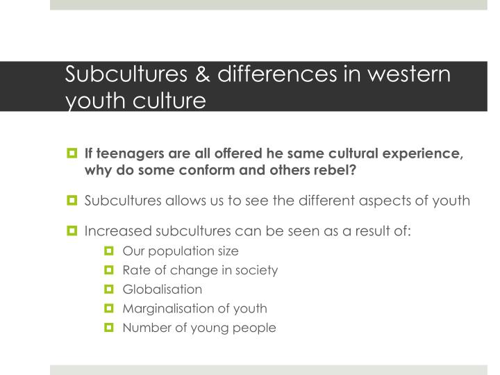 Subcultures & differences in western youth culture