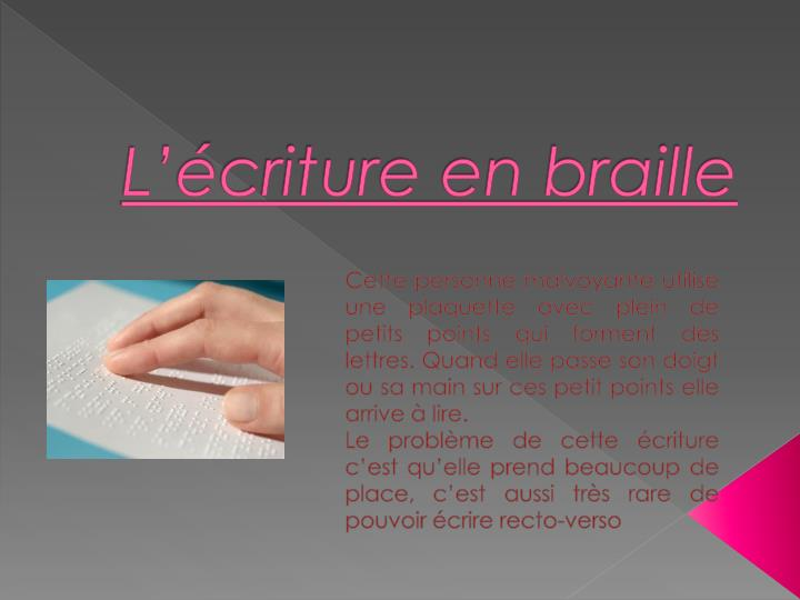 L criture en braille