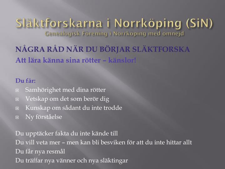 Släktforskarna i Norrköping (SiN)