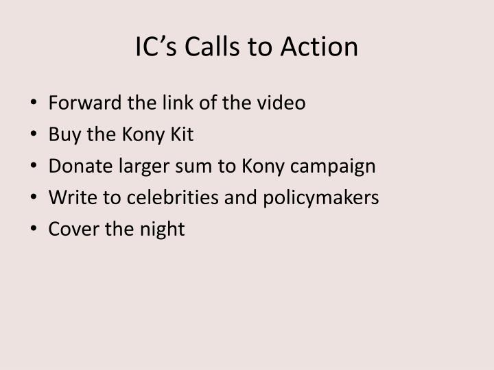 IC's Calls to Action