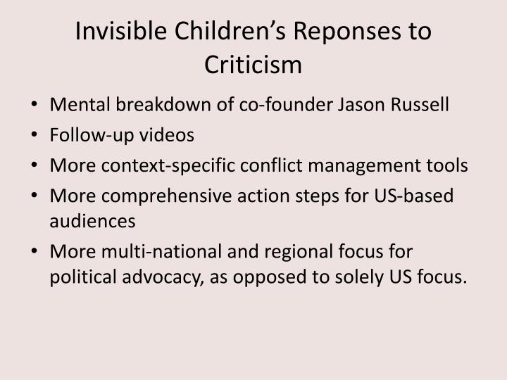 Invisible Children's Reponses to Criticism