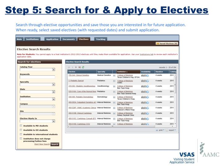 Step 5: Search for & Apply to Electives