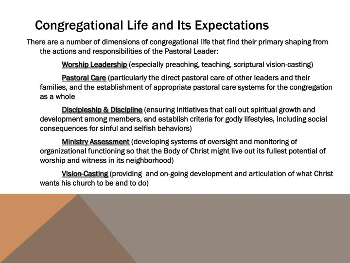 Congregational Life and Its Expectations