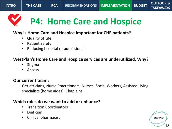 P4:  Home Care and Hospice