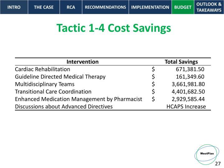 Tactic 1-4 Cost Savings