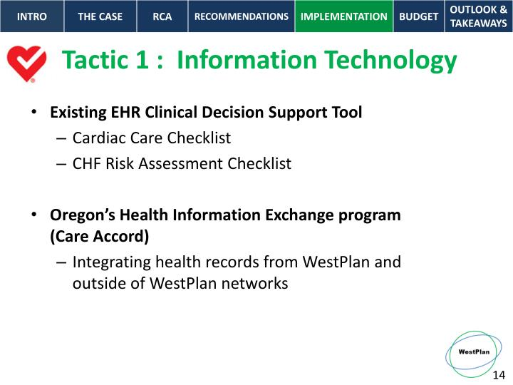 Tactic 1 :  Information Technology