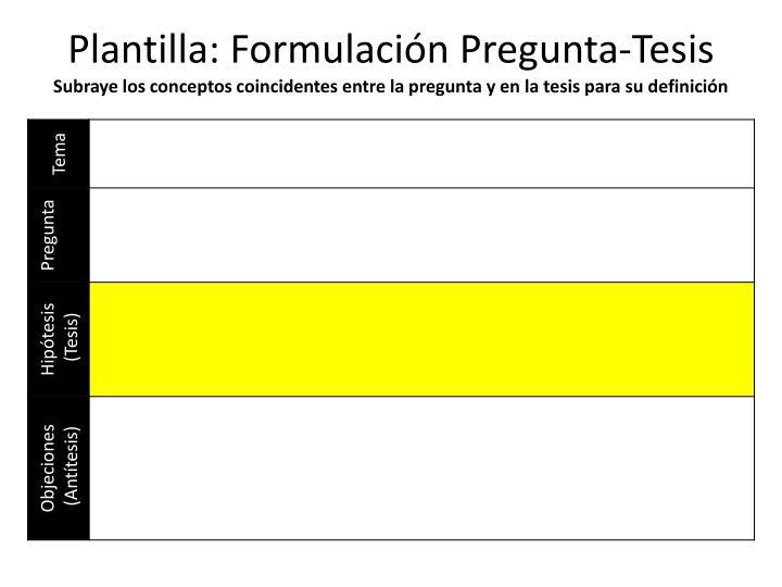 Plantilla: Formulación Pregunta-Tesis