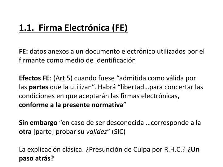 1.1.  Firma Electrónica (FE)