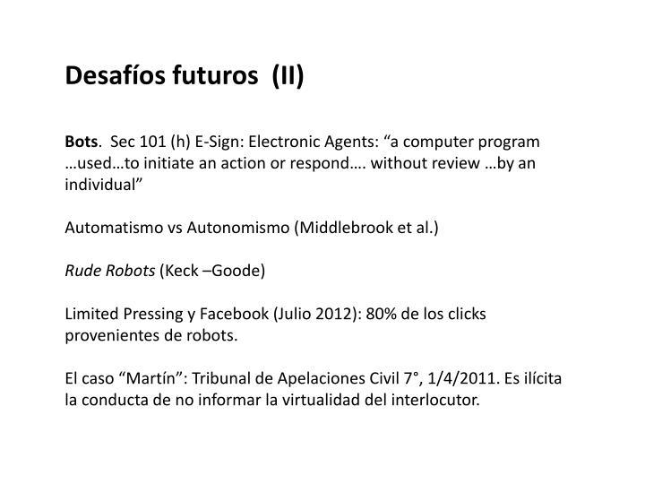 Desafíos futuros  (II)
