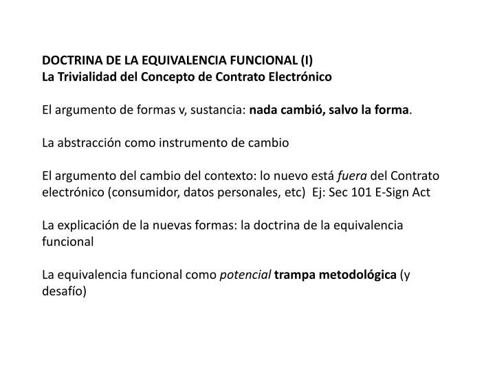DOCTRINA DE LA EQUIVALENCIA FUNCIONAL (I)