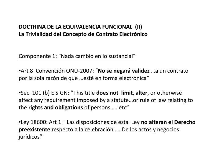 DOCTRINA DE LA EQUIVALENCIA FUNCIONAL  (II)