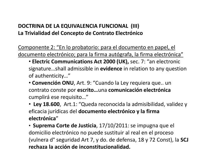 DOCTRINA DE LA EQUIVALENCIA FUNCIONAL  (III)
