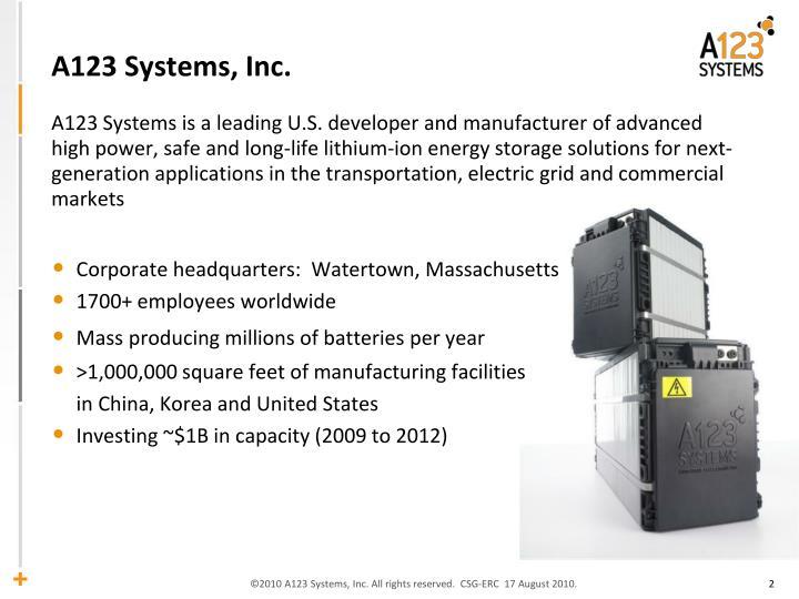 A123 Systems, Inc.