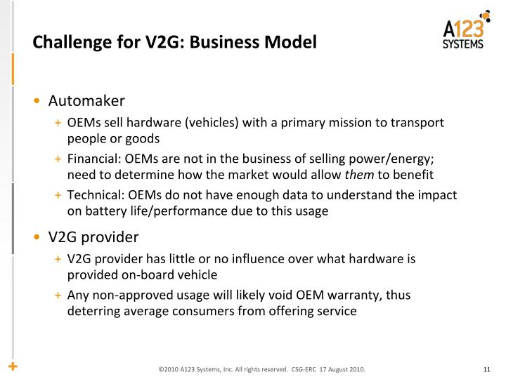 Challenge for V2G: Business Model