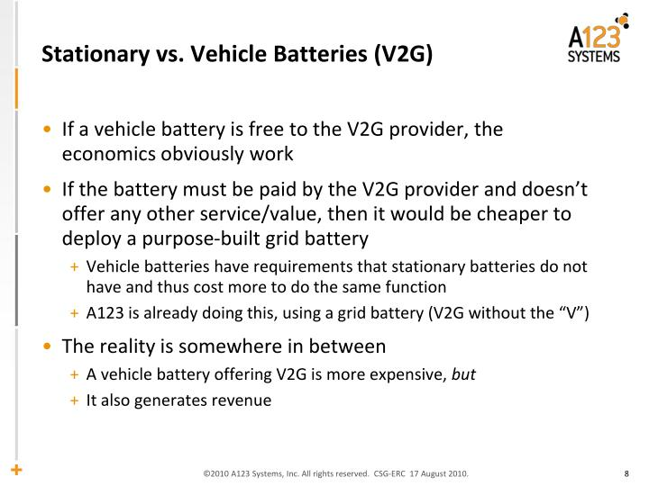 Stationary vs. Vehicle Batteries (V2G)