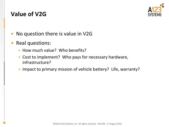 Value of V2G