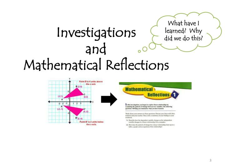 Investigations and mathematical reflections