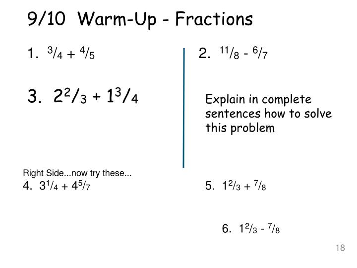 9/10  Warm-Up - Fractions