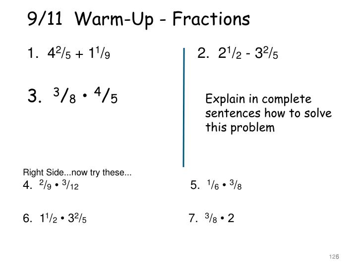 9/11  Warm-Up - Fractions