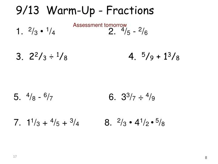 9/13  Warm-Up - Fractions