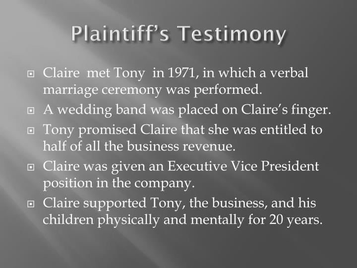 Plaintiff's Testimony