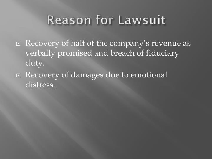 Reason for Lawsuit