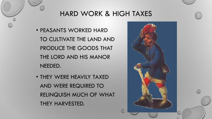 Peasants worked hard to cultivate the land and produce the goods that the lord and his manor needed.