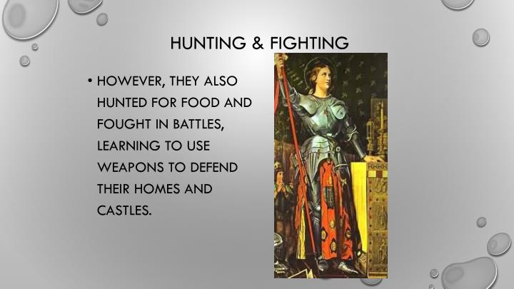 However, they also hunted for food and fought in battles, learning to use weapons to defend their homes and castles.