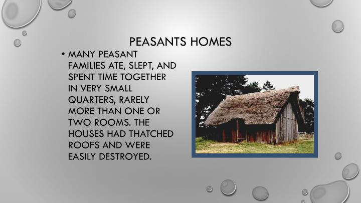 Many peasant families ate, slept, and spent time together in very small quarters, rarely more than one or two rooms. The houses had thatched roofs and were easily destroyed.