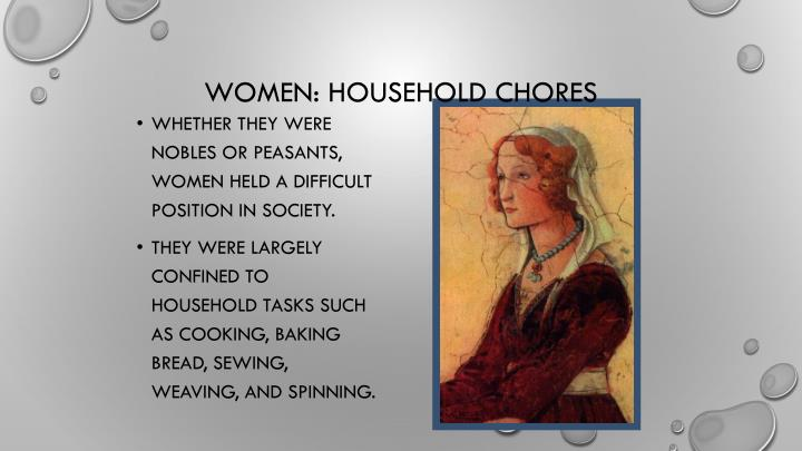 Whether they were nobles or peasants, women held a difficult position in society.