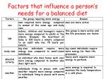 factors that influence a person s needs for a balanced diet
