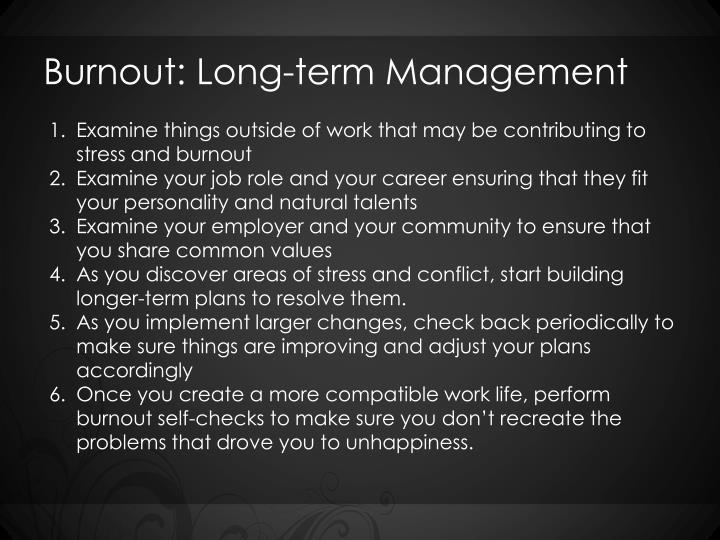 Burnout: Long-term Management