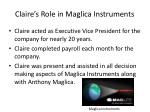 claire s role in maglica instruments