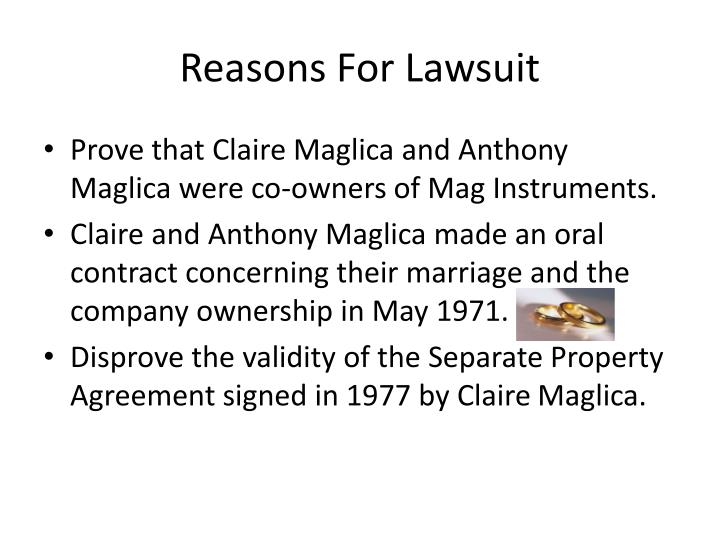 Reasons for lawsuit