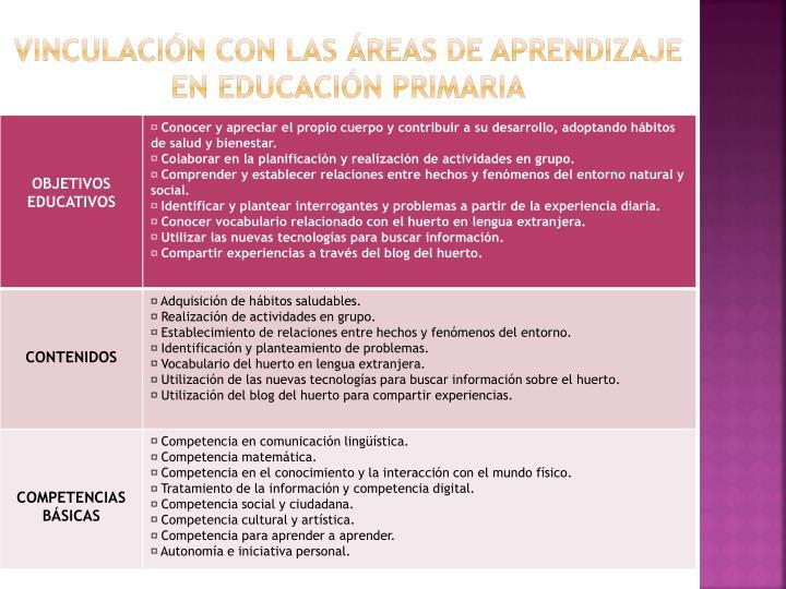 Vinculación con las áreas de aprendizaje en educación primaria
