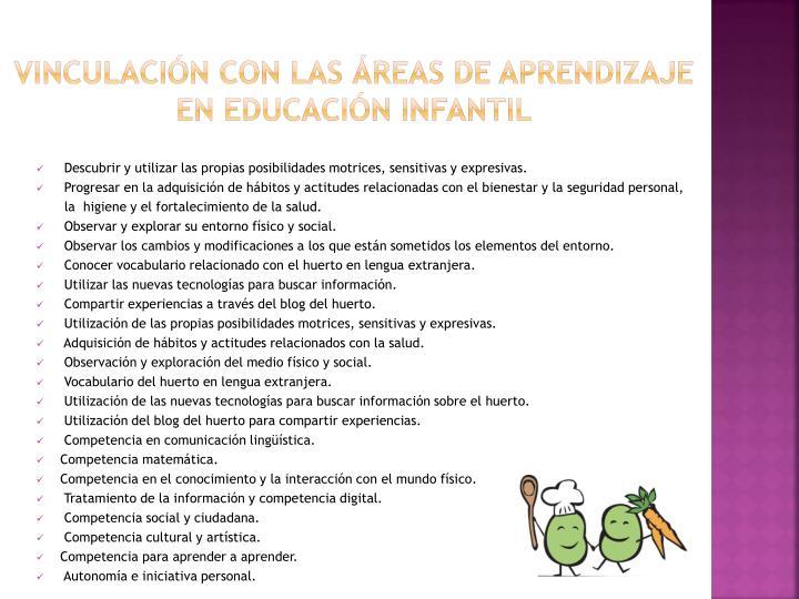 Vinculación con las áreas de aprendizaje en educación Infantil