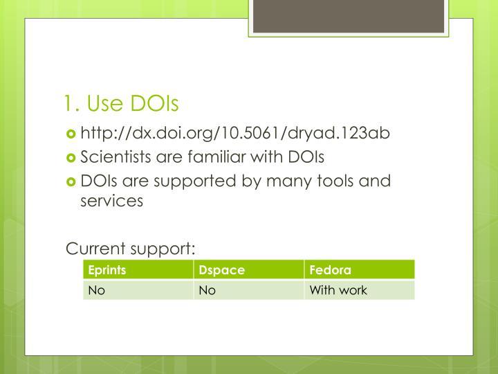 1. Use DOIs