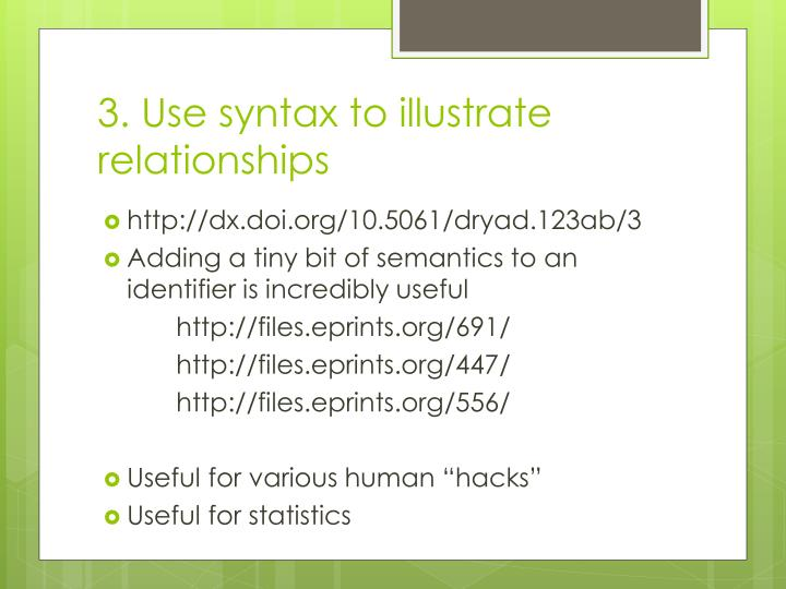 3. Use syntax to illustrate relationships