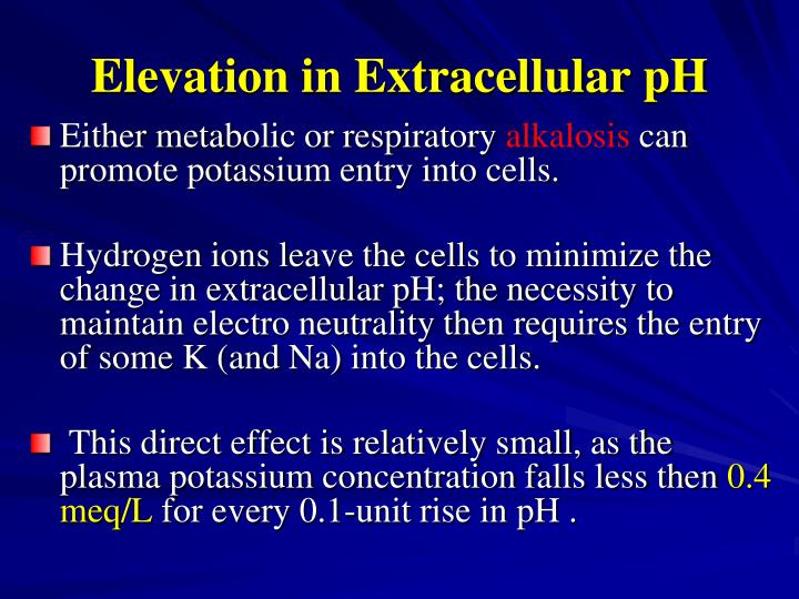 Elevation in Extracellular pH