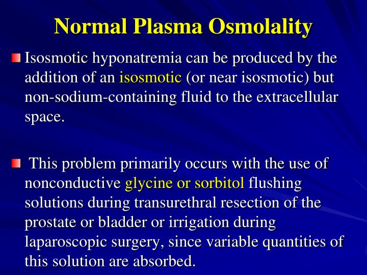 Normal Plasma Osmolality