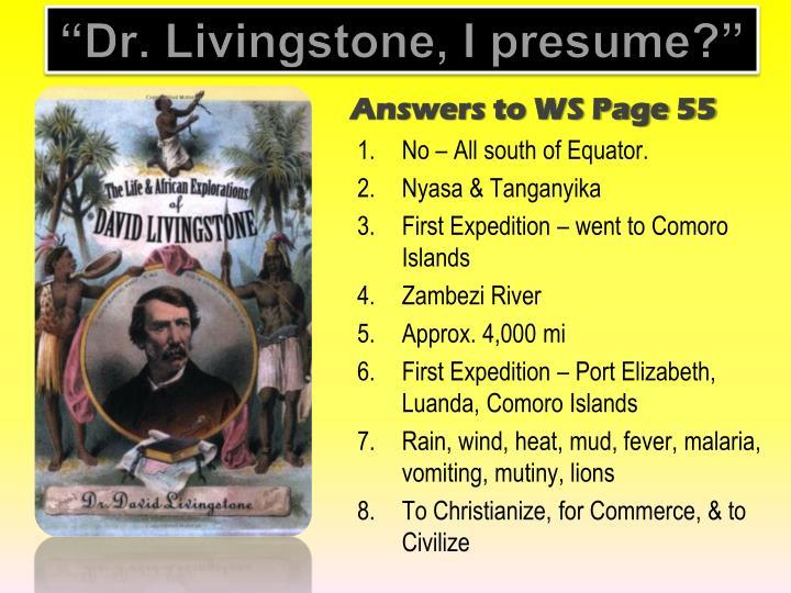 Livingstone I Presume : PPT - Do Now PowerPoint Presentation - ID:2272213