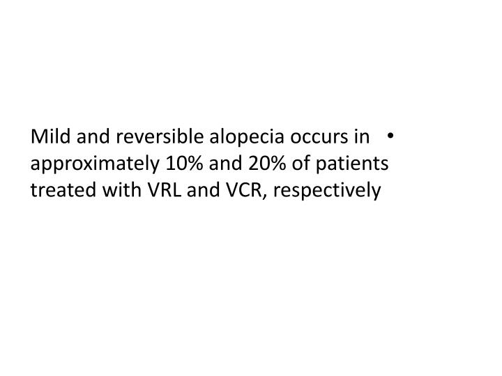 Mild and reversible alopecia occurs in approximately 10% and 20% of patients treated with VRL and VCR, respectively