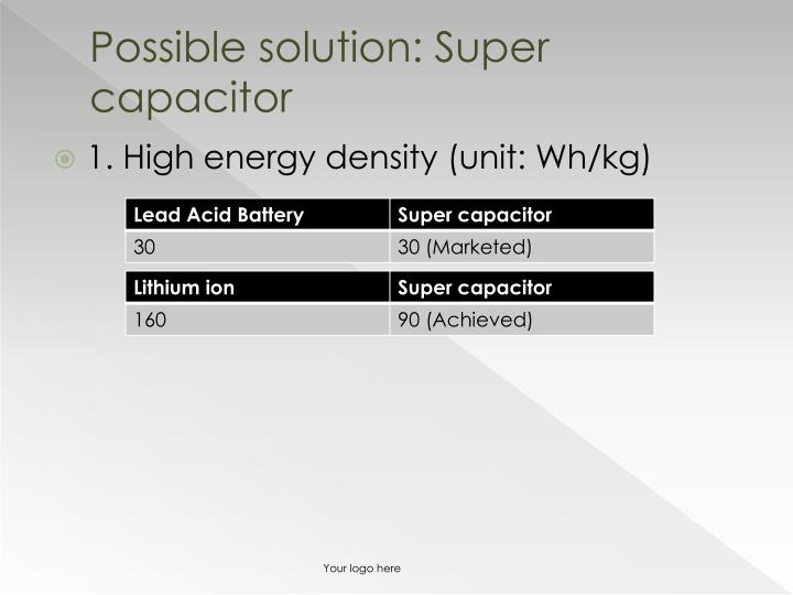 Possible solution super capacitor