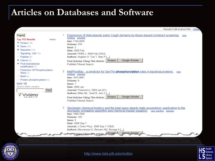Articles on Databases and Software