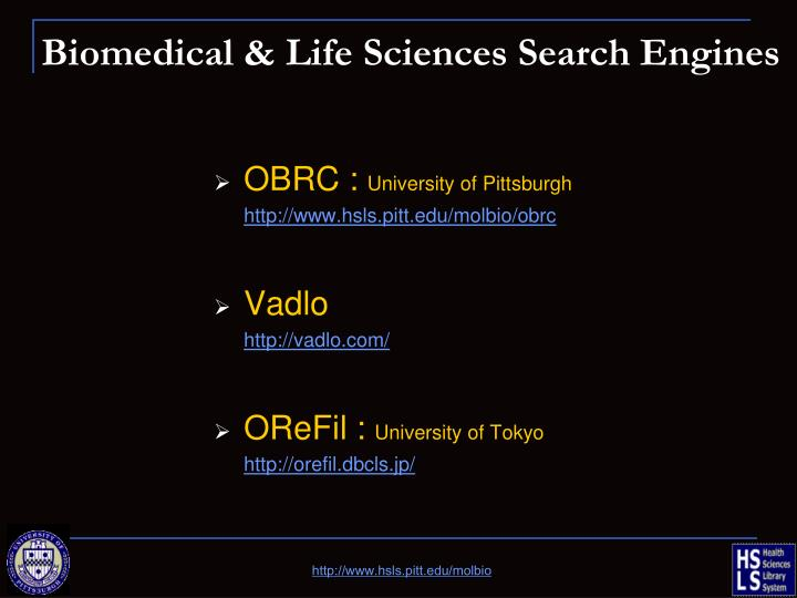 Biomedical & Life Sciences Search Engines