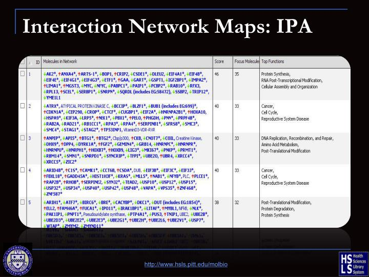 Interaction Network Maps: IPA
